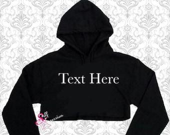 d0bb4eaa472a2 Kids Custom Crop Hoodie Top- Crystal Swarovski Rhinestone Bling Girl Crop  Top Hoodie Hip Hop Clothing Sweater Dancer wear Logo