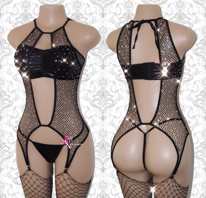 aa6399d7056 Exotic Dancewear Fishnet Bodysuit BodyStocking Bodysuit | Etsy