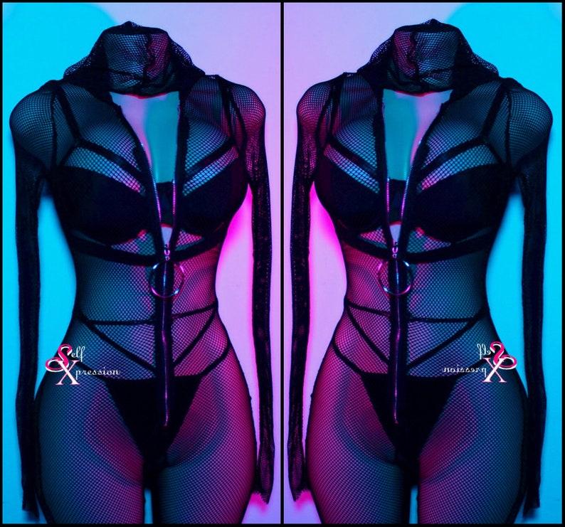ee639a46a6fc3 Rave rhinestone Black catsuit jumpsuit clubwear dancer