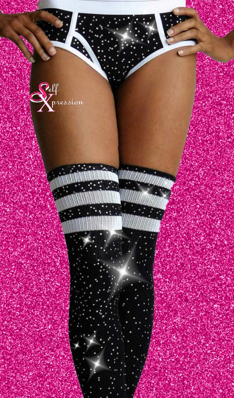 118703579 Dazzle Thigh High Socks Over the Knee Athletic 3 stripe