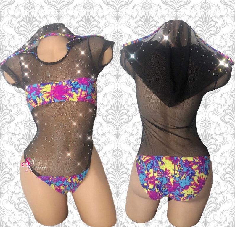 f4e4790d1a19 Hoodie Mesh Bodysuit Sparkly Bodysuit Exotic dancewear