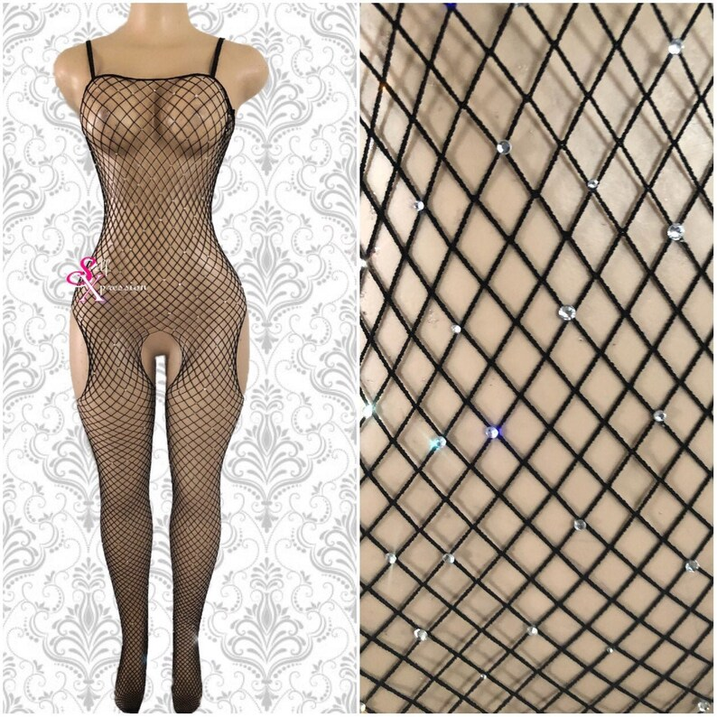 crotchless black halter fishnet bodystocking with high neck