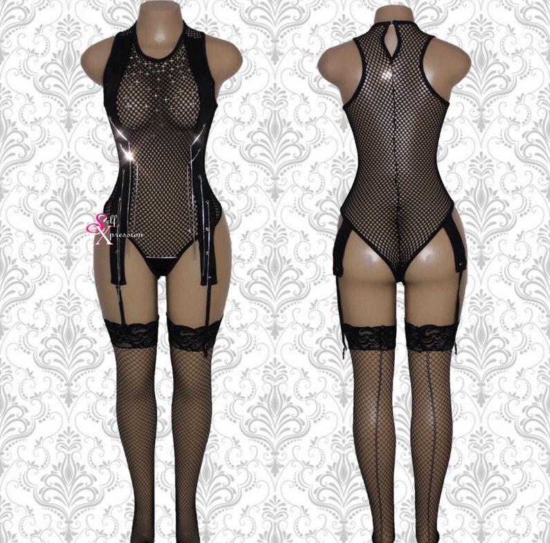 4e26fd9bc15 Edgy Black Fishnet Bodysuit - Sleeveless Bodysuit Garter Sexy Burning Man  Romper Rave Clothing Pole Dance Festival Carnival Dance Wear