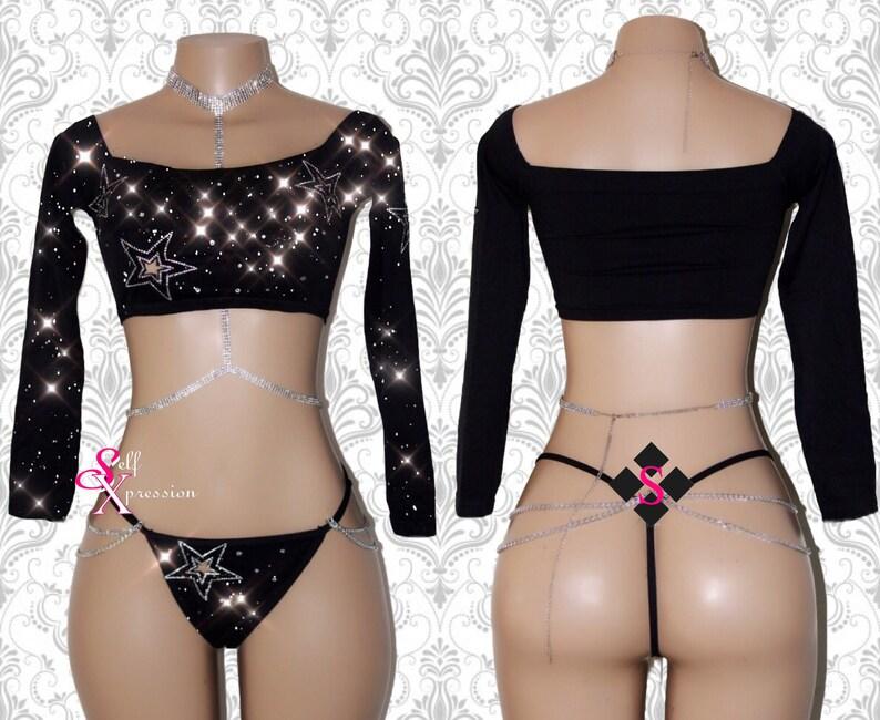 8b533ea20bc693 Exotic Dancewear Pole Dance Wear Lingerie Set Lounge Wear