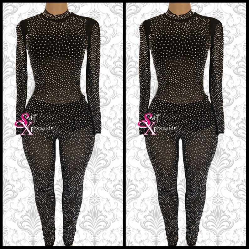 62a814f6ee Crystallize glass rhinestone jumpsuit catsuit unitard clubwear bejeweled  bodysuit birthday suit prom new years costume sheer mesh Black Nude
