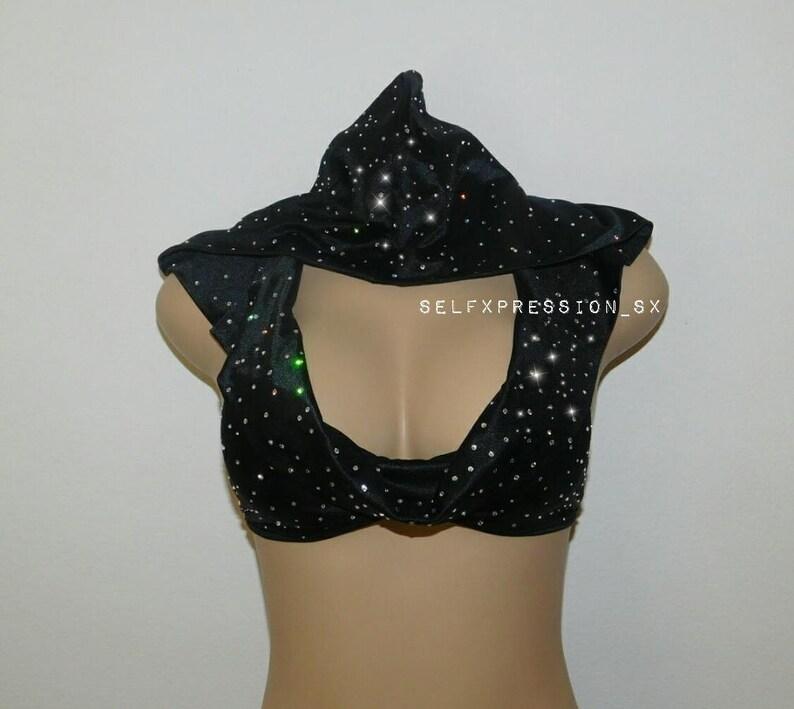 ecf403d0004 Bedazzled Bralette Hoodie  Crop Top Bustier Bra Top Rhinestone