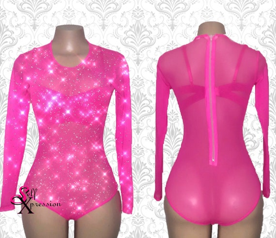 Crystallized Mesh Bodysuit Long Sleeves Bejeweled Hot Pink  2af4e2ee7