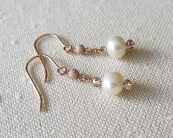 14 carat Rose gold fill pearl drop earrings, ivory-white freshwater pearls, rose gold beads, crystals, bridal, bridesmaid, prom