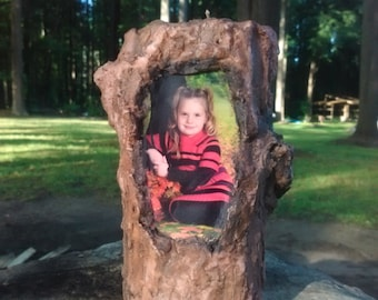 Personalized Rustic Tree Log Scented Soy Candle Photo Picture Display Gift Christmas Birthday Graduation Mothers Day Fathers Day Grandma