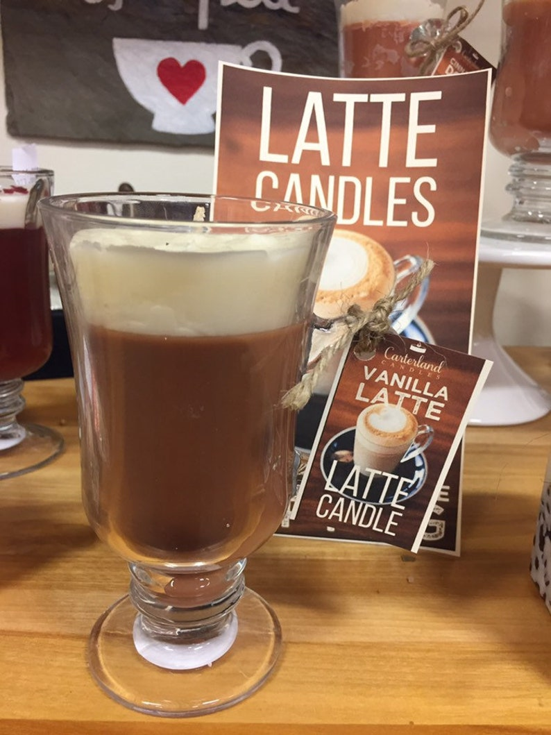 Latte Candles Large delicious \u201cflavors\u201d handmade to look just like your favorite fall coffee.