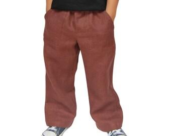 CLOSING DOWN SALE. Brown Handmade Linen Trousers