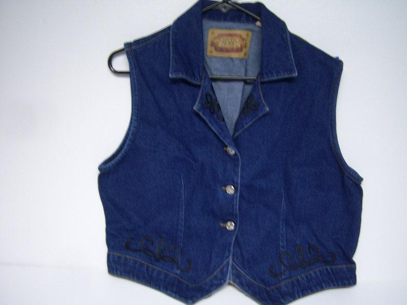 Vintage Gordon James Denim Three Metal Buttons Up Front Ladies Dark Blue Denim Vest Pre Owned Marked Size M Very Good Clean Condition