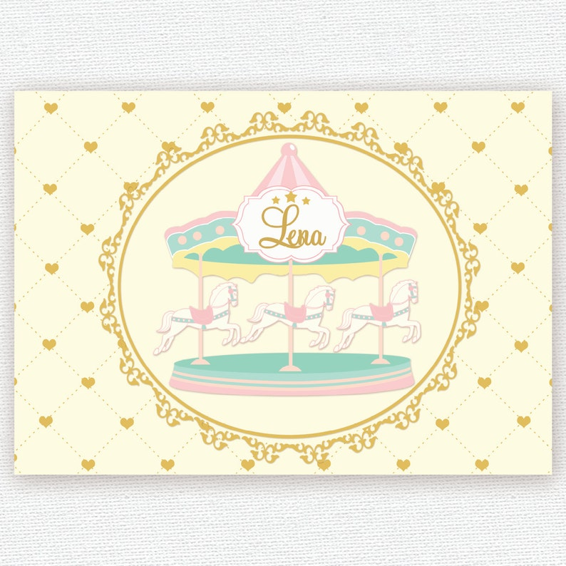 bf01cd04b33 Carousel in pastel colors pink mint cream yellow gold