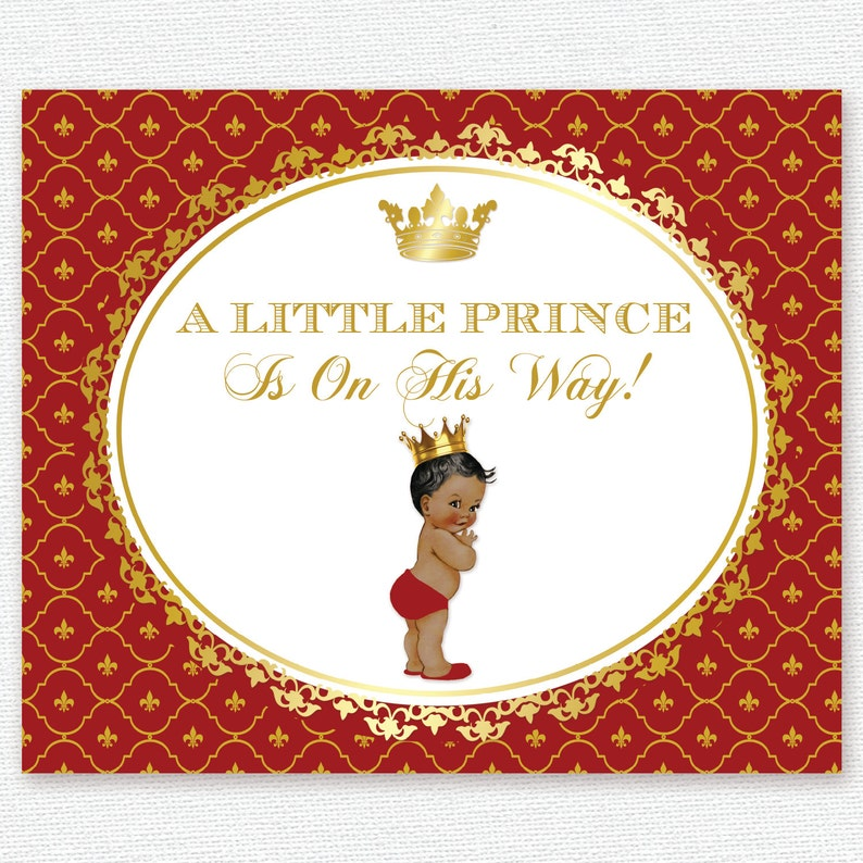 king gold red royal blue white baby prince decor sign poster banner birthday baptism christening crown baby shower backdrop party