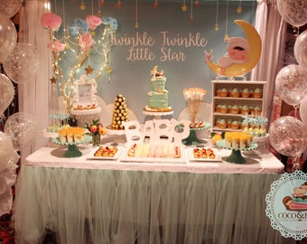 twinkle twinkle little stars mint, baptism, christening, birthday, baby shower backdrop, sign poster, banner, invitation, party decoration
