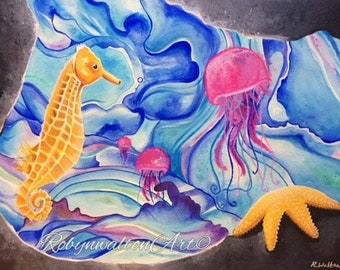 SOLD*** Original 'Submerged' watercolour painting. By Robyn Walton.