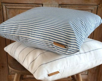 Handcrafted Cotton Ticking Striped Cushion/Cushions Blue - Scandi