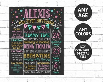 Pink Teal & Gold Glitter First Birthday Chalkboard Poster | Stars Girl 1st Birthday Chalk Board | Sparkly Silver | DIGITAL FILE - PRINTABLE