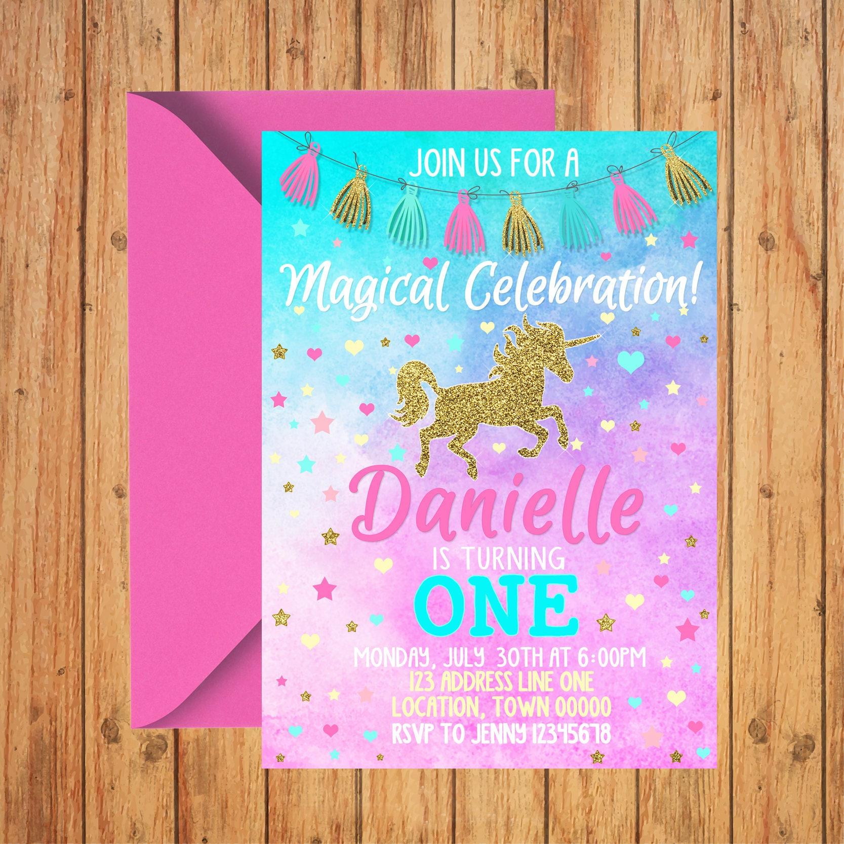 Unicorn Birthday Invitation Pink Teal Gold Glitter 1st