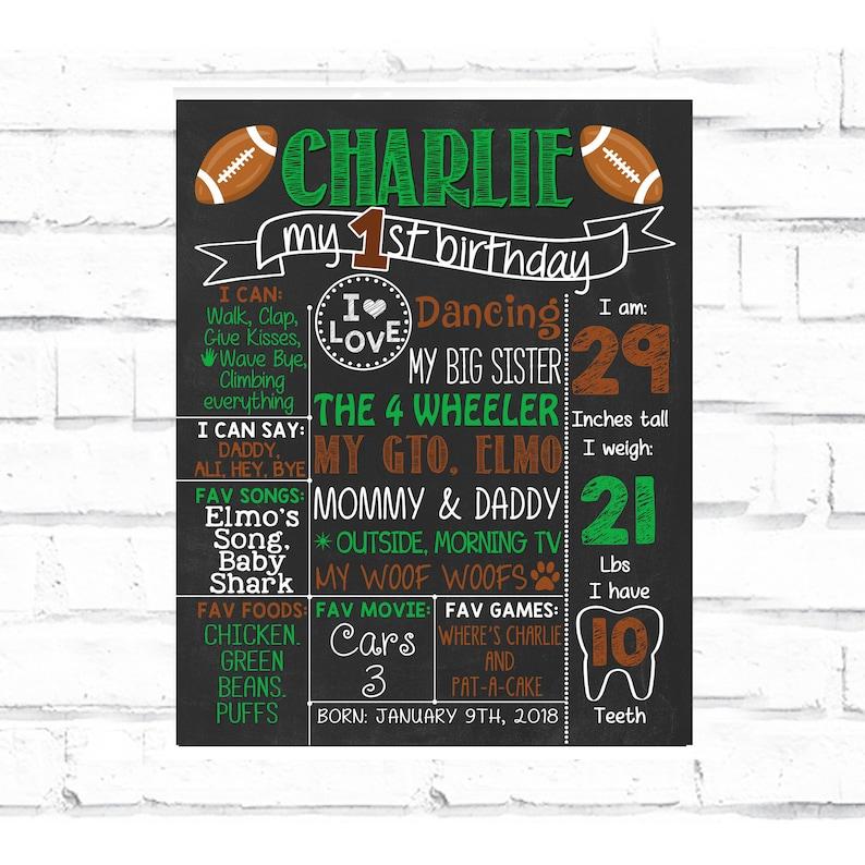 Football First Birthday Chalkboard Poster  Boys Sport green image 0