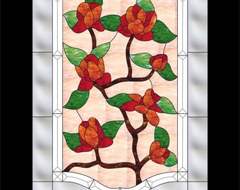 Roses stained glass pattern Stained glass template pdf cdr eye ai pattern Beveled design drawing Decorative glass illustration Glass panel