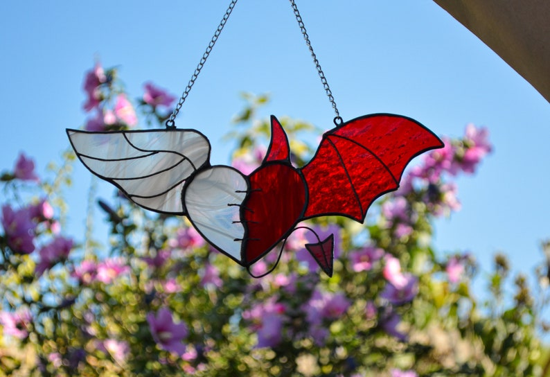Stained glass flying heart Angel Devil heart Halloween decor Wings heart Heart with horn Red wing White wing Scaring ornament Wall hanging