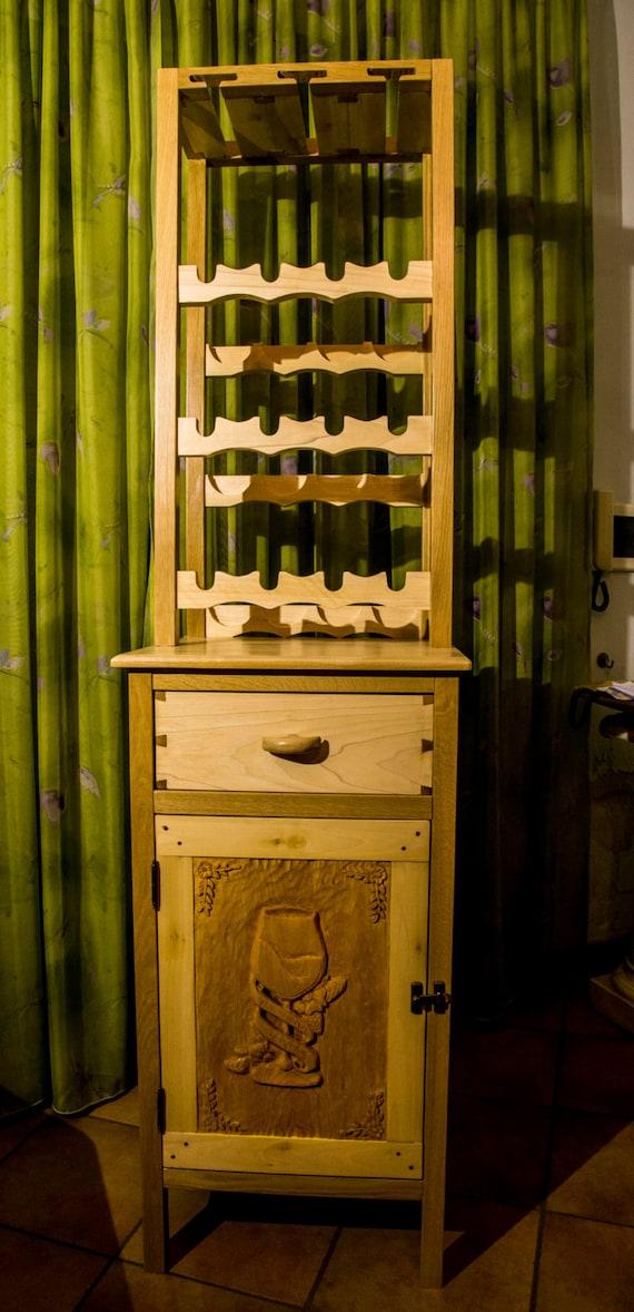 CUSTOM carved WINE and liquor CABINET