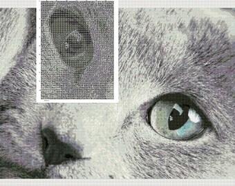 Gray Cat cross stitch pattern