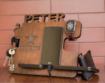 Mens personalized gift, docking station, iPhone charging stand, gift idea , Mens charging dock, Gift for men