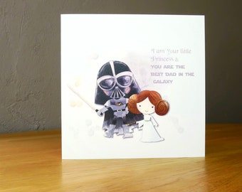 Star Wars Darth Vader and Princess Leia style personalisd Fathers Day, Star Wars Fathers Day Card best Dad, father and daughter