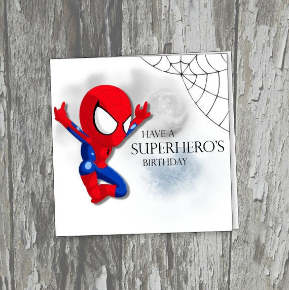 Spiderman Birthday Card Superhero Boys Birthday Card Marvel Etsy