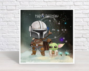 Personalised Star Wars Mandalorian Birthday Card featuring Boba & baby Yoda, Greeting Card
