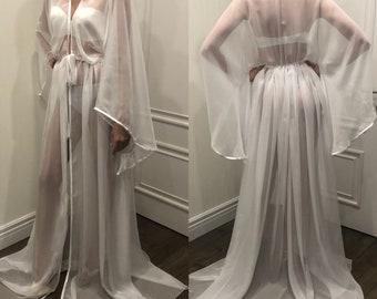 7c5a17ef4b6 Chiffon Bridal Robe  Long bridal robe  Long white robe  Wedding kimono   Maxi bridal robe  Bride robe  Bridal kimono  Bridal dressing gown