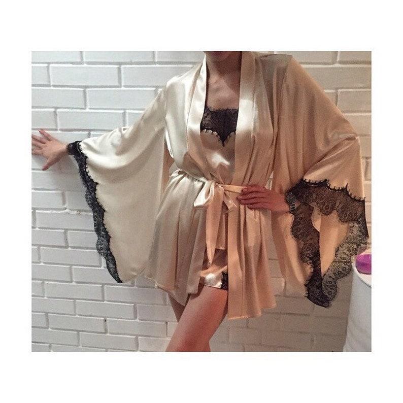 Silk robe Short silk robe Satin robe Silk kimono Silk kimono robe Kimono robe Short kimono robe Bridal Robe Bridal KimonoBride robe