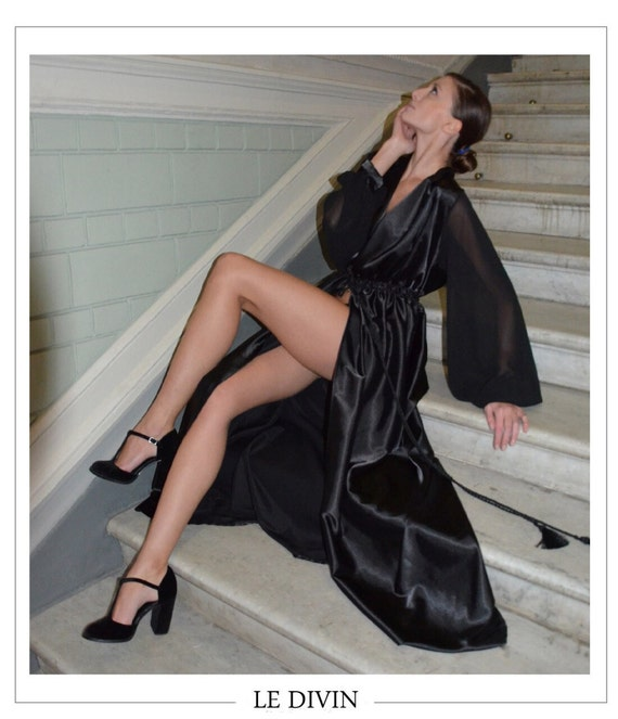 chiffon kleid schwarz seide robe lang seide robe satin robe etsy. Black Bedroom Furniture Sets. Home Design Ideas
