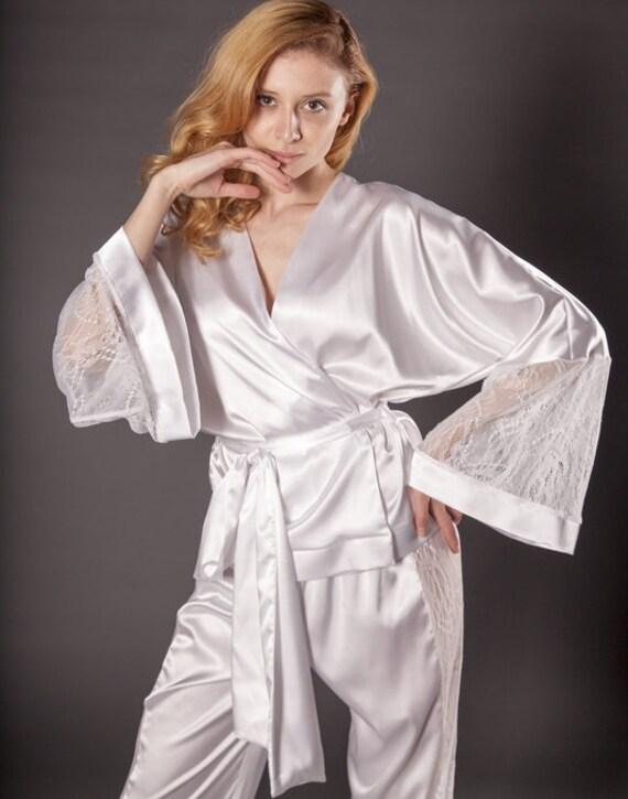 comprare popolare stile unico come scegliere Pigiami di seta / bianco pigiama raso pigiama / Bridal pigiama raso  pigiameria / seta pigiameria / seta Loungewear / regalo