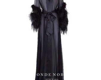 Ostriches feathers/ Chiffon robe/ Chiffon nightgown/ Long silk robe/ Long chiffon robe/ Sheer robe/ Sexy lingerie/ Honeymoon lingerie/