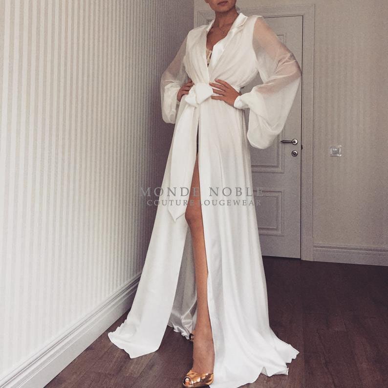Long bridal robe/ Long white robe/ Wedding kimono/ Long silk image 0