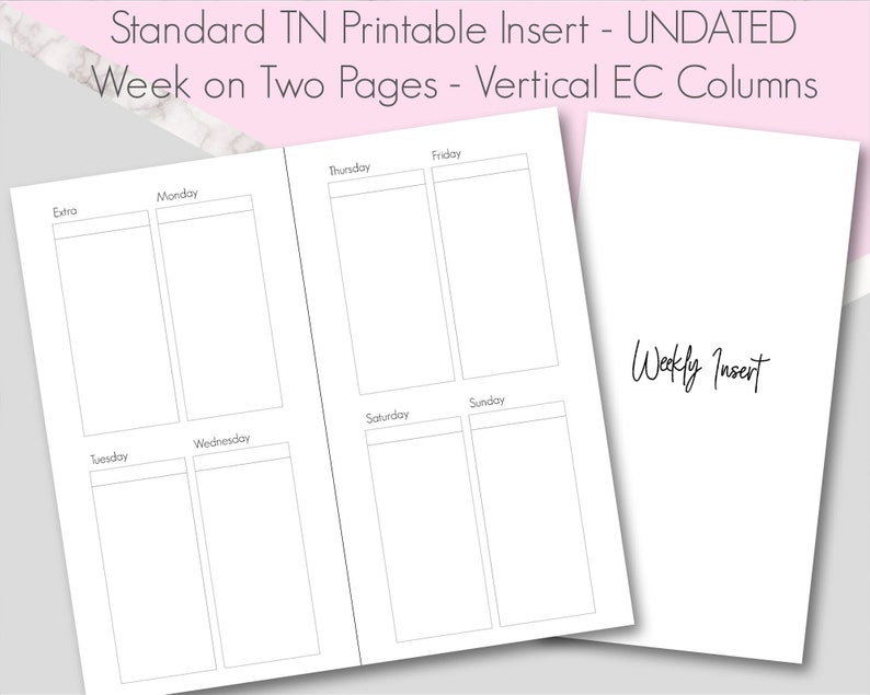 Standard traveler/'s notebook Insert Week on Four Pages Pdf printable UNDATED Insert Standard TN - 4 Boxes Per Day WO4P