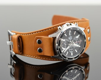 Leather Cuff Watch Band in Light Brown, Casio Edifice Strap, Custom Cuff Band for Your Watch, Unisex Wide Band, 18,19,20,21,22,23,24mm