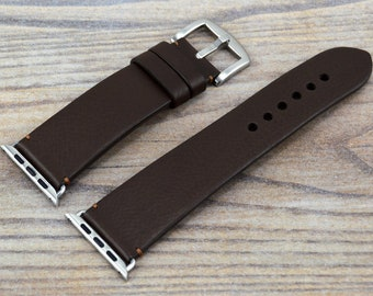 Dark Brown Apple Watch Band, Apple Leather Band 38mm/40mm/42mm/44mm/ Brown Apple Watch Strap for Men&Women, Apple Wearable, All Series 2-6