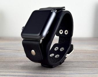 Apple Watch Cuff Band, Black Leather Watch Strap, Handcrafted Apple 40mm, Apple 42mm, Apple 44mm, Apple Strap Series 2 3 4 5 6  SALE