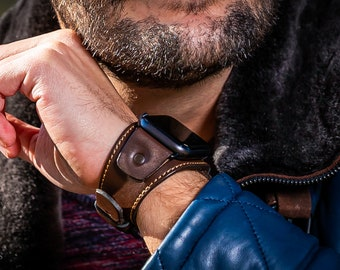 Brown Apple Cuff Watch Band 42mm 44mm Leather Apple Watch Band 38mm 40mm FREE Personalization Custom Watch Band Series 1 2 3 4 5 6 SALE