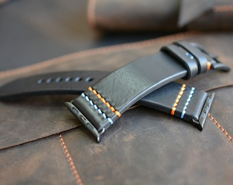 Black Leather Apple Watch Strap, Leather Watch band, Hand stiched Strap, Custom Thread Colors, Men's Apple Leather Band, Series 1 2 3 4 5 6