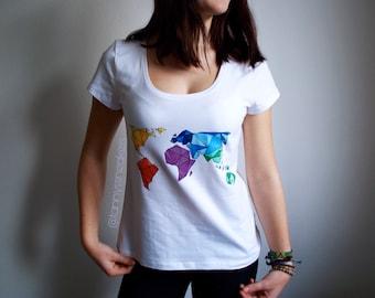 T-shirt with geometric world map - Adults & Kids sizes