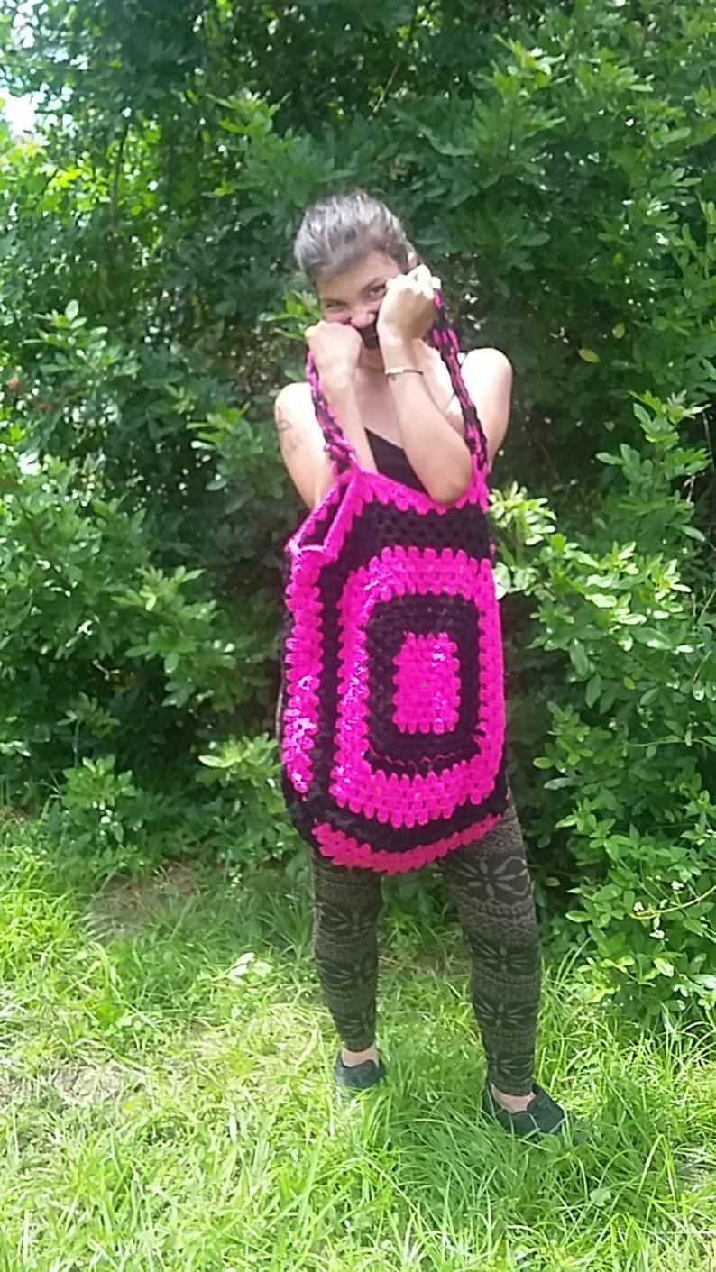 or Accent Pillow Sofa Pocket Heart design for Custom Crochet Granny Square Tote Bag