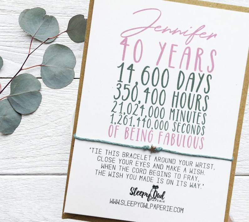 40th Birthday Wish Bracelet Friend Personalised Card