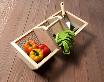 Garden Basket Hod tote gift for carrying vegetables and flowers with center divider for tools seeds and supplies from Red Cedar