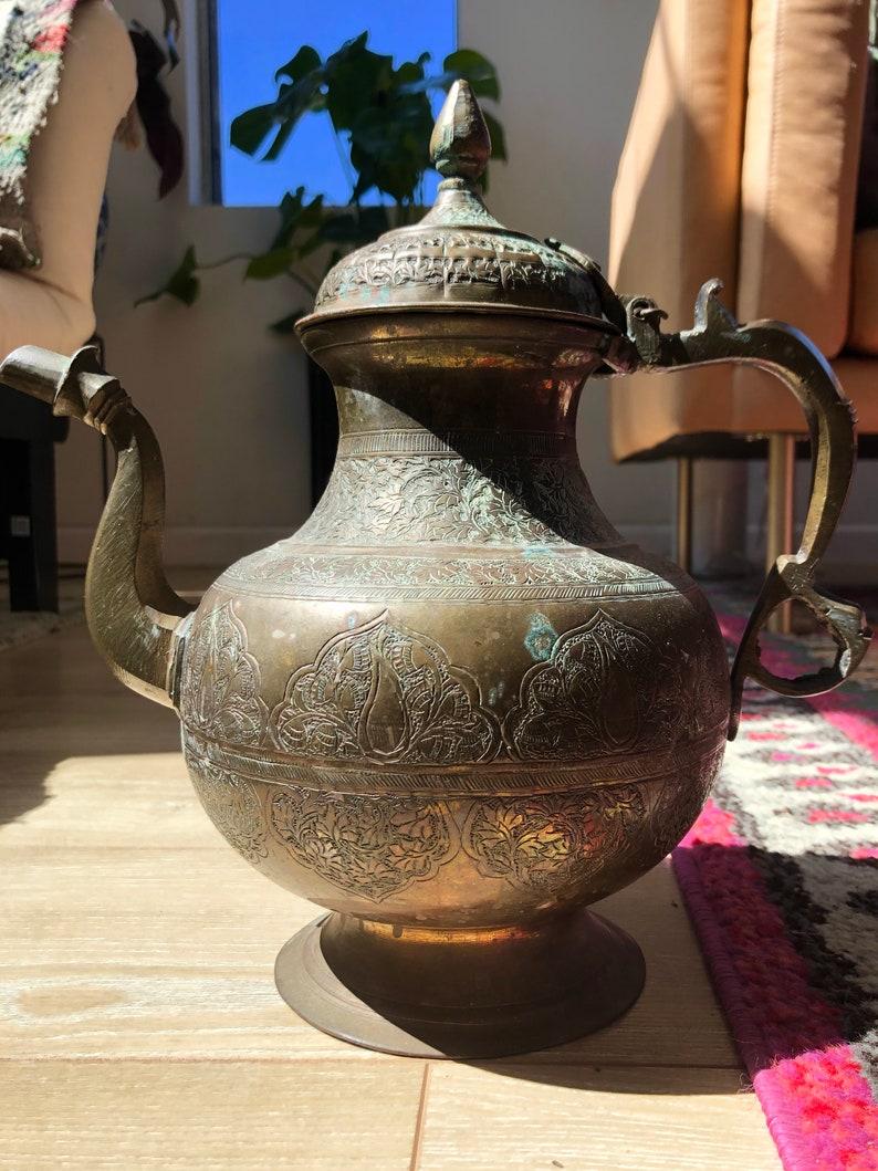 Large Vintage Indian Turkish Etched Brass Coffee Tea Pot   Etsy