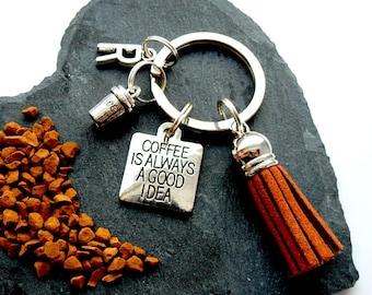 Coffee Key Chain, Coffee Secret  Santa, Coffee Lovers Gift, Coffee Key Ring, Costa Coffee, Personalised Keyring, Tassel Keyring, Coffee Gift